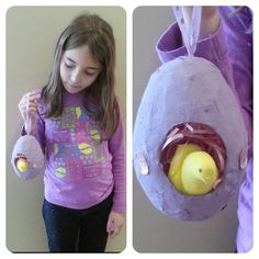 "I know it is only February but I have been getting ready for #Easter for a while! Paper Mache Egg complete with ""chick! "" I llove #peeps #craftwars"