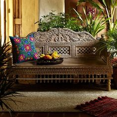 World Market hand carved bench Garden Furniture, Home Furniture, Bench Furniture, Custom Furniture, Style Tropical, Style Oriental, Global Decor, Indian Interiors, Ethnic Decor