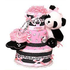 Pink Panda Diaper Cake