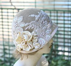 Handcrafted artisan glitzy and glamorous vintage summer style cloche hat. Perfect for a gala event or summer wedding. I have made this hat in shades of pale golden wheat for the summer season. The hat was formed using sinamay forming it ove. Fascinator Hats, Fascinators, Silver Fascinator, Headpieces, Wool Hat Outfit, Vintage Outfits, Vintage Fashion, Vintage Style, Types Of Hats