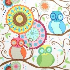 Owl friends fabric by Free Spirit Fabrics. I see funky curtains in my future! bird-inspired-interiors