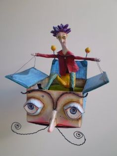 The flying box - a lovely papier mache creation.