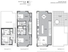 The four level luxury Kits Blanc Vancouver modern townhouse plans.