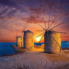 Chios island, The windmills. Places To Travel, Places To See, Places Around The World, Around The Worlds, Chios Greece, Greek Isles, Greece Islands, Seen, Water Tower