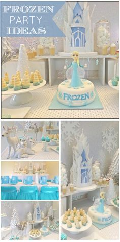 What a lovely blue and white Frozen girl birthday party with an amazing dessert table! See more party ideas at CatchMyParty.com!