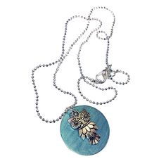 Mama Designs Owl Disc Pendant Necklace - Overstock Shopping - The Best Prices on Necklaces