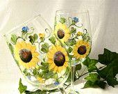 Sunflowers hand painted on a single wine glass