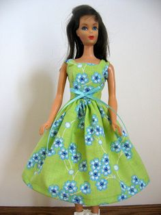 Barbie Doll Dress in Lime and Aqua by GrandmaLindasHouse on Etsy, $4.50