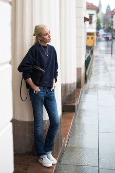 Delicate necklaces pair beautifully with casual style. #streetstyle