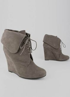 cuffed lace-up bootie wedge $25.30 in BLACK BROWN TAUPE - New Shoes   GoJane.com - StyleSays