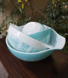 Turquoise Cinderella Bowls, Nesting Set of Four Blue Pyrex Mixing Bowls, Great Vintage Condition, 1950s Mid Century Mod on Etsy, $117.35