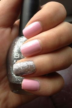 Like The Pink With A Sparkly Gray And The Sparkle Being The Unique Nail