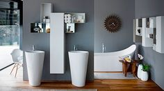 The Swiss brand LAUFEN stands for Swiss quality and design. The company offers total bathrooms concepts all over the world. Laufen Bathrooms, His And Hers Sinks, Showroom Design, Wet Rooms, Bathroom Sets, Beautiful Bathrooms, Jacuzzi, Interiores Design, Home Deco