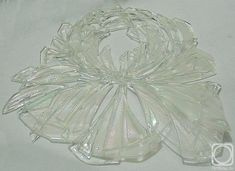 "Repina Elena. Decor for mirror ""Crystal Peony"", glass fusing (fragment on white background)"