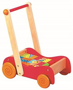 LELIN WOODEN WOOD CHILDRENS TODDLER WALKIE WALKIE WALKER PUSH ALONG ACTIVITY TOY TODDLE TRUCK: Amazon.co.uk: Toys & Games