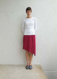 Marsala T Shirt Skirt Recycled Upcycled Knee Length by ohzie