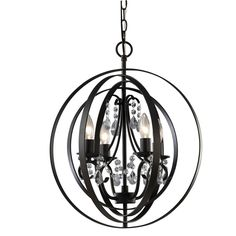 Canarm Jordan 4 Light Chandelier with Crystals and Oil Rubbed Bronze Finish