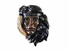 Native American Indian Maiden Face Ceramic Wall by WithAllMyArt,