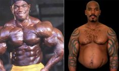 Before and after photo comparison of several 12 top level bodybuilders who seem to lose a large amount of muscle and size after retiring from the sport. On average the retirement transformation shown take place in 10 years or less.