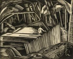 Dark Lake (Lake in a Wood, Dark Pool). Paul Nash, 1920. Wood engraving.