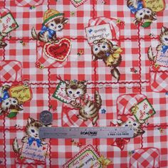 KITTEN CHECK Red Kitty Vintage Valentine Japanese Cotton Quilt Fabric by the Yard, Half Yard, or Fat Quarter Fq Quilt Gate Pocket Cat Cats by zeetzeet on Etsy https://www.etsy.com/listing/233993594/kitten-check-red-kitty-vintage-valentine