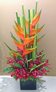 Flowers Arrangements Modern Orchids New Ideas Picture Arrangements, Church Flower Arrangements, Beautiful Flower Arrangements, Beautiful Flowers, Tropical Flowers, Tropical Floral Arrangements, Exotic Flowers, Cactus Flower, Purple Flowers