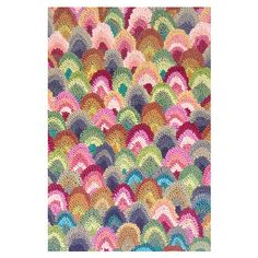 Dash and Albert Rainbow Seashell Hooked Cotton Hook 5 x 8 Rug - Final Sale DARKF18...ideas, this thing is CRAZY expensive...but like th epattern and colors
