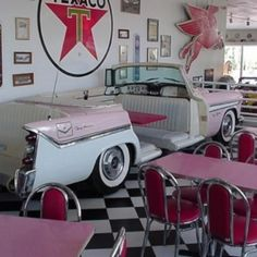 Retro diner-love the old car booth Wow this is so cool