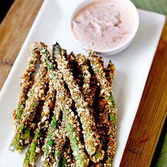 Asparagus Fries with Lemon Herb Sriracha Dip