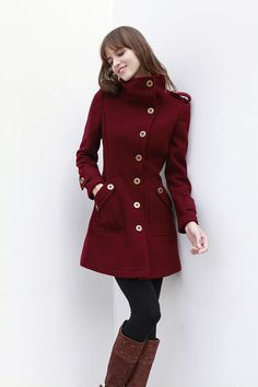 Love red for the Dark Season colouring. This coat seems to take military styling and adjust the size, angles, details, and length to look superb on a Gamine woman.