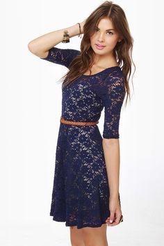 Catch the Bouquet Blue Lace Dress at LuLus.com!