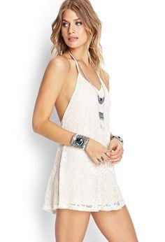 Crochet Lace Halter Dress   FOREVER21 #SummerForever