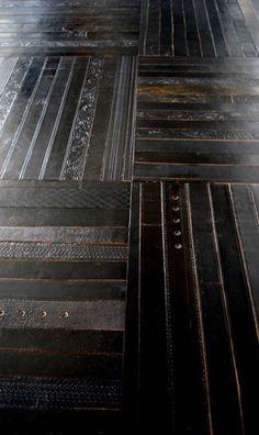 leather belts repurposed as flooring