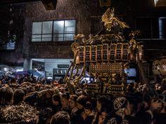 Asakusa/Torigoe Matsuri 8/13 In the Torigoe Jinja shrine: One of the chokai (neighborhood) omikoshi ending its procession for the night under heavy rain.  #Asakusa, #Torigoe, #matsuri, #omikoshi, Taken on June 7, 2014. © Grigoris A. Miliaresis