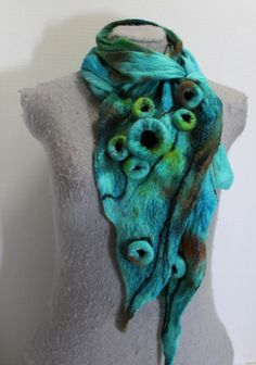 Turquoise Nuno Felted Scarf OOAK GREAT GIFT by mgotovac on Etsy, $65.00
