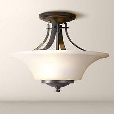 "Feiss Barrington 15"" Bronze Semi-Flushmount Ceiling Fixture"