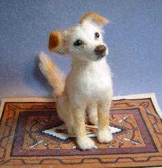 Custom dog  Portrait Sculpture needle by DreamwoodArtDesigns