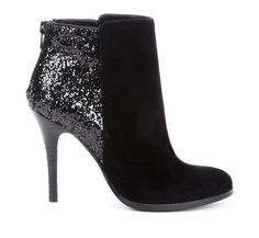 Black + Metallic Colorblock booties