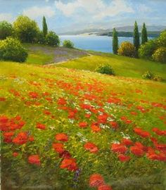 """""""Wildflowers by the Water"""" 31""""x27"""" Unframed Size Oil On Canvas - SOLD by Gerhard Nesvadba"""
