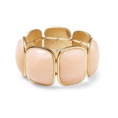 Sabine Peach Cabachon Stretch Bracelet ($38) ❤ liked on Polyvore