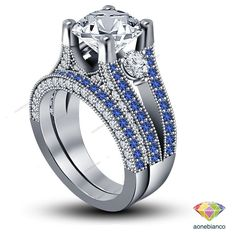 WOMEN'S DIAMOND & SAPPHIRE ENGAGEMENT RING WEDDING BAND BRIDAL SET IN 925 SILVER #aonebianco