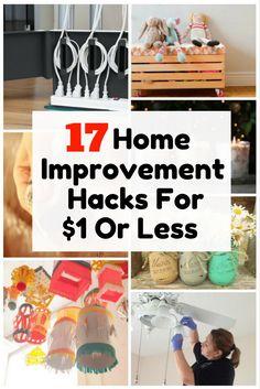 17 Home Improvement Hacks For $1 Or Less - http://www.thebudgetdiet.com/17-home-improvement-hacks-for-1-or-less?utm_content=snap_default&utm_medium=social&utm_source=Pinterest.com&utm_campaign=snap