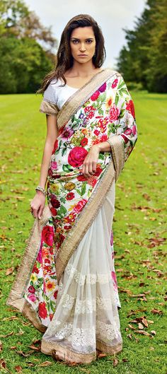 154814: White and Off White color family Saree with matching unstitched blouse.
