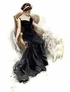 Black victorian gown, w/ white cats
