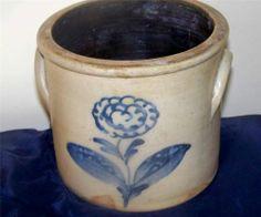 1 Gallon NYS Butter Crock w Cobalt Flower Salt Glazed Stoneware | eBay