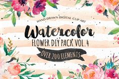 20%Off-Watercolor  DIY pack Vol.4 by Graphic Box on Creative Market