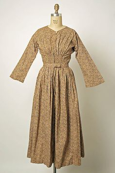 Dress, date given as mid-19th century (probably 1850s or very early 1860s), cotton, French. Metropolitan Museum of Art accession no. C.I.60.26.1