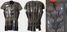 Moro mail and plate armor from Maranao, Lanao del Sur, Western Mindanao, Philippines, construction from butted brass mail and plates of dark browish carabao horn (Philippine buffalo), 9.6 kg. Dimensions: length appr 74 cm (29 in.), width with sleeves appr 67 cm (26 in.), lower width appr. 51 cm (20 in.).