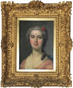 #Portrait of a young woman of the 18th century, attributed to Louis-Michel #van #Loo. Vintage Louis XV #giltwood frame. For sale on Proantic by Galerie We Art Together.