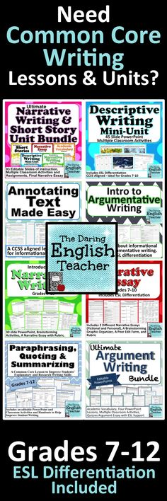 A great resource for common core writing lessons and units. Argument Writing. Narrative Writing. Explanatory Writing.